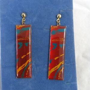 Splatter Print Drop Earrings